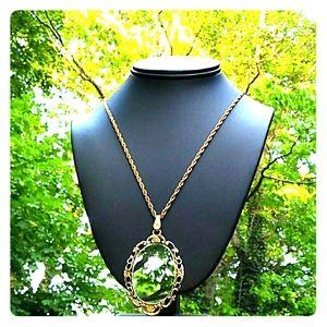 VINTAGE Gold Gilt Emerald Rhinestone Mirror Nklc